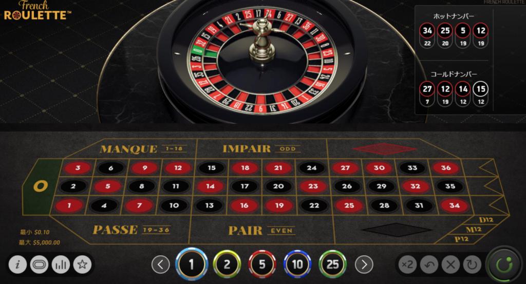 オンラインカジノのルーレット